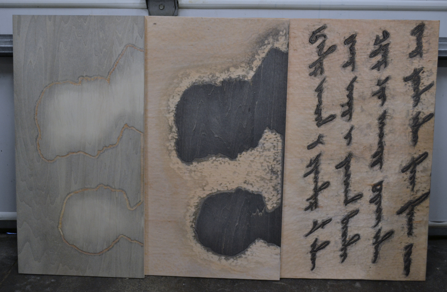 three woodblocks